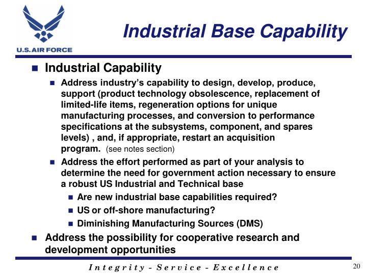 Industrial Base Capability