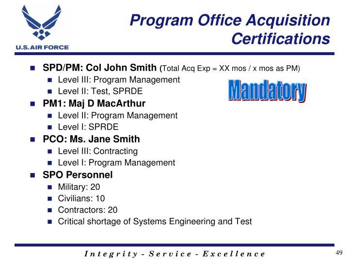 Program Office Acquisition Certifications