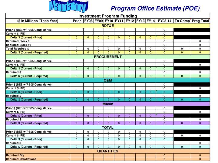 Program Office Estimate (POE)