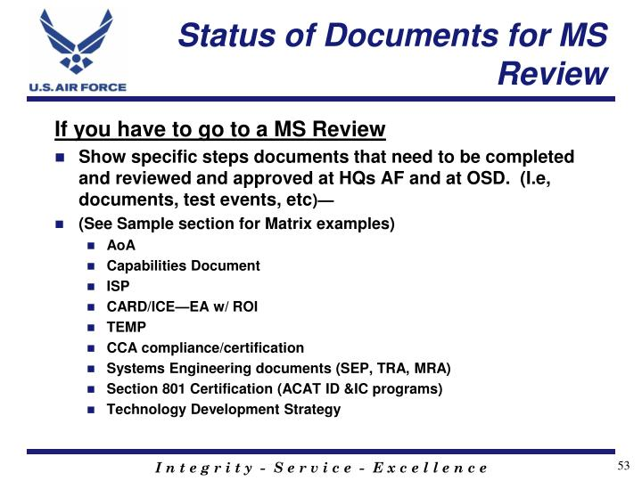 Status of Documents for MS Review