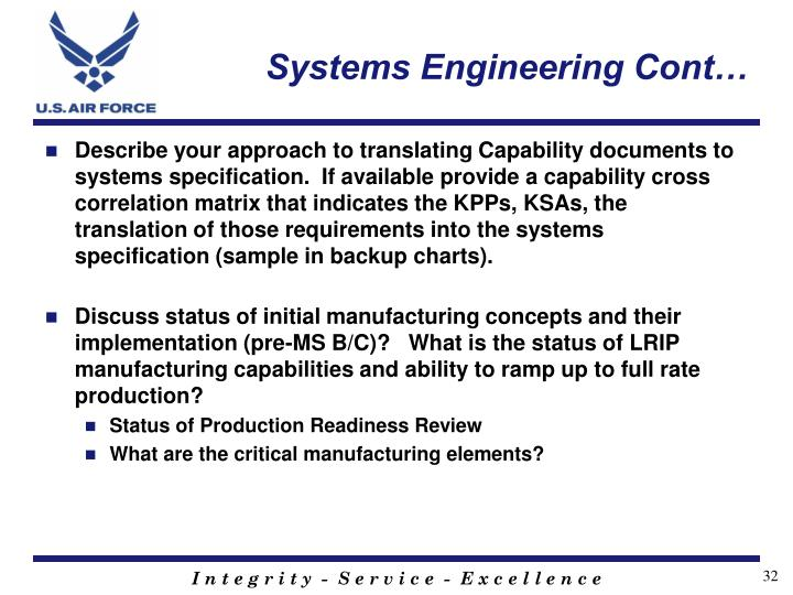 Systems Engineering Cont…