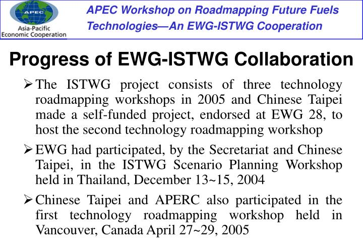 Progress of EWG-ISTWG Collaboration