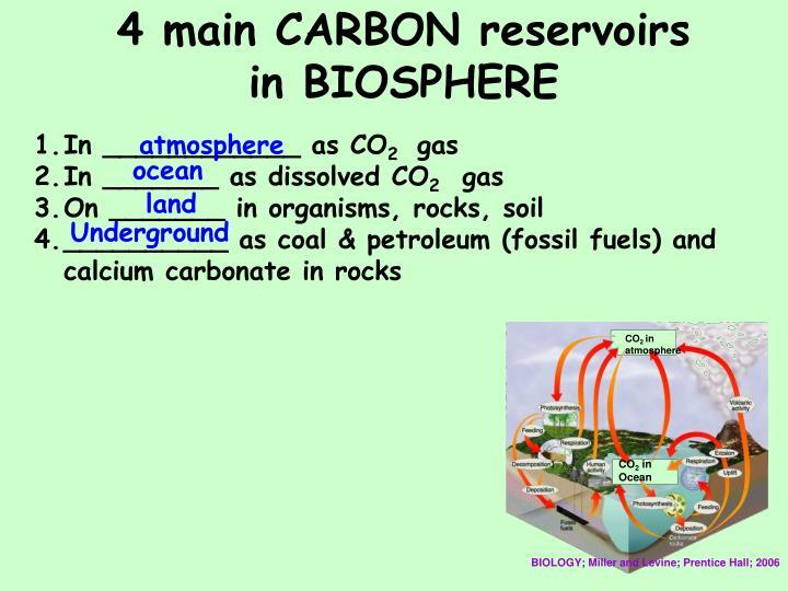 4 main CARBON reservoirs