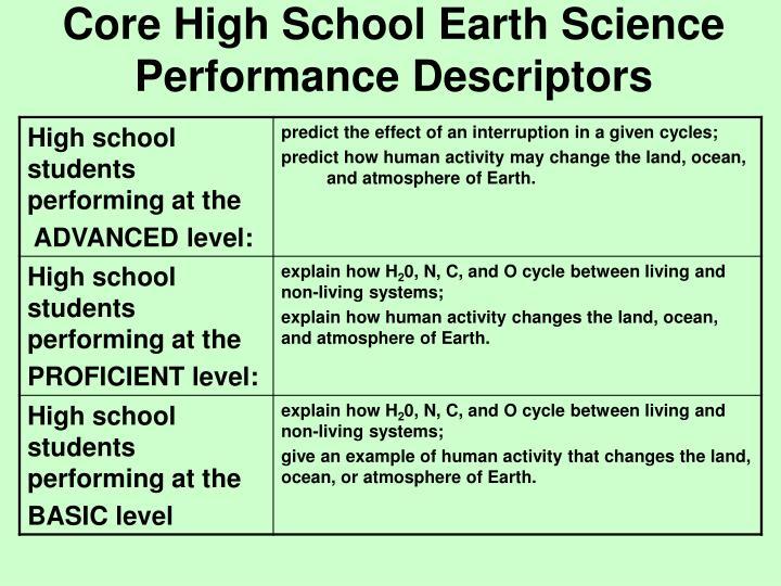 Core High School Earth Science