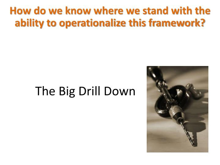 How do we know where we stand with the ability to operationalize this framework?