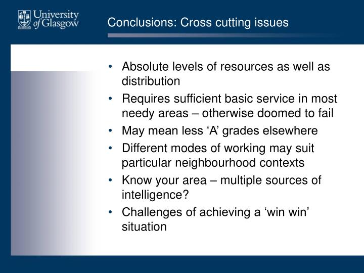 Conclusions: Cross cutting issues