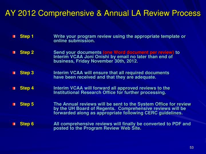 AY 2012 Comprehensive & Annual LA Review Process