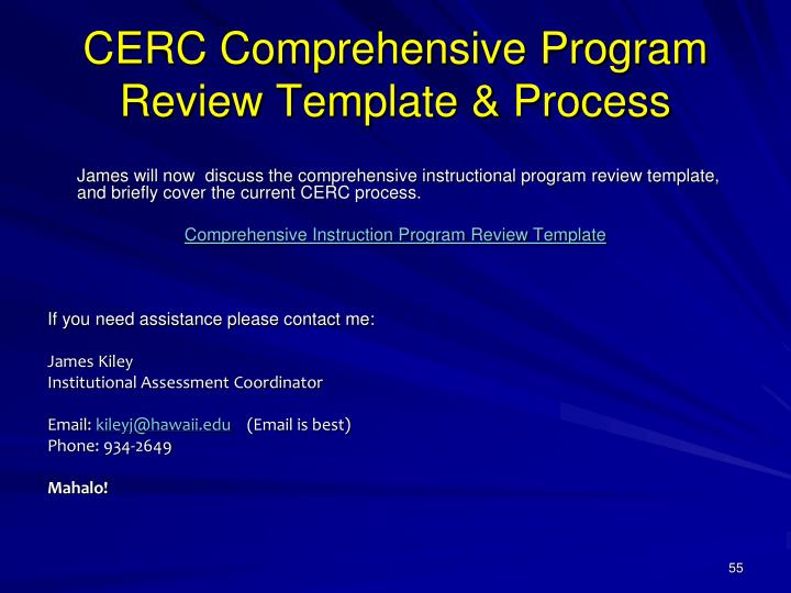 CERC Comprehensive Program Review Template & Process