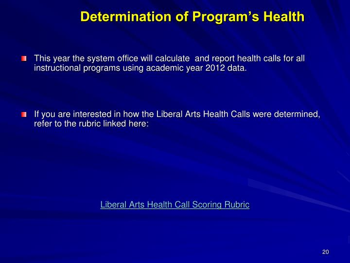 Determination of Program's Health