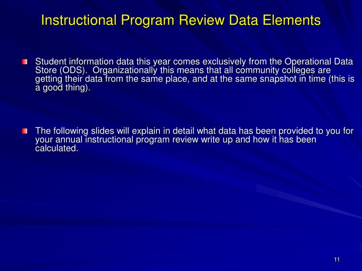 Instructional Program Review Data Elements