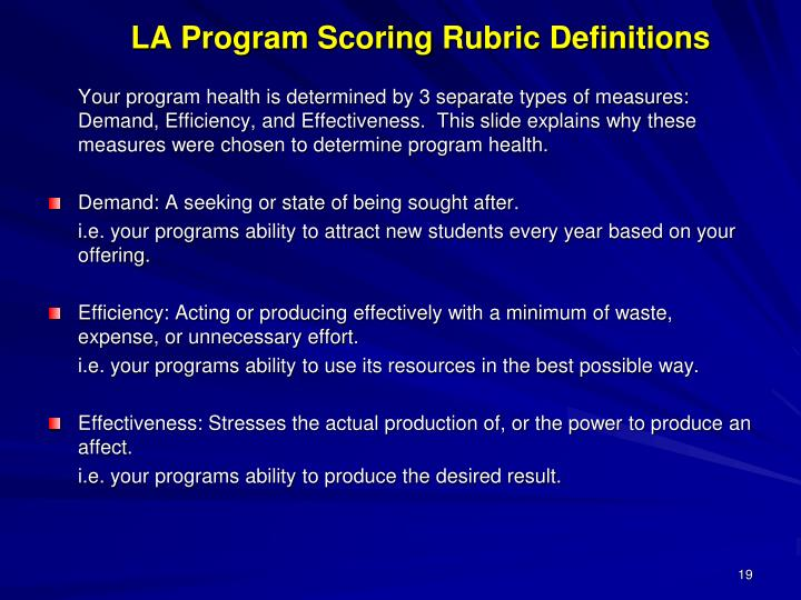LA Program Scoring Rubric Definitions