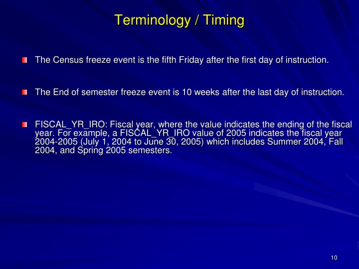 Terminology / Timing