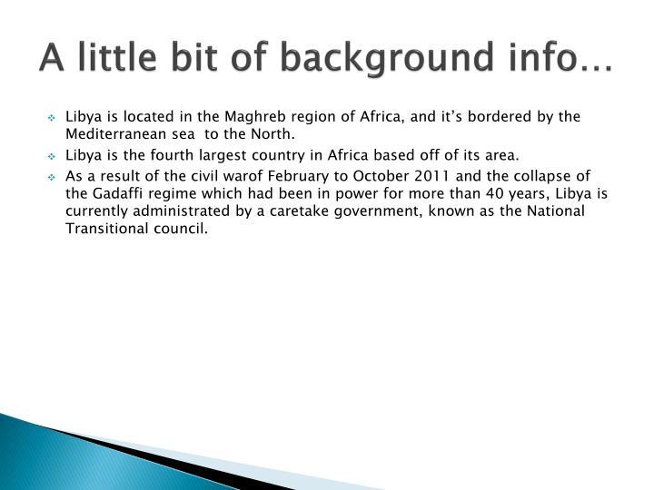 A little bit of background info…