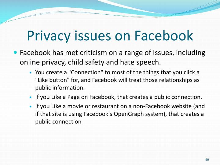 Privacy issues on Facebook