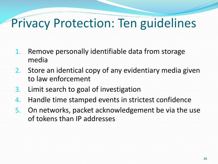 Privacy Protection: Ten guidelines