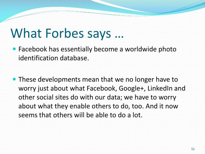 What Forbes says …