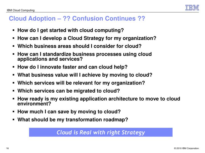 Cloud Adoption – ?? Confusion Continues ??