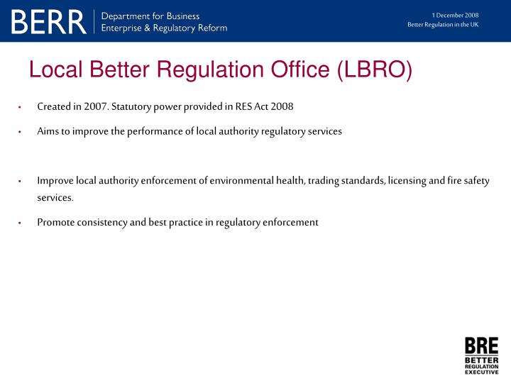 Local Better Regulation Office (LBRO)