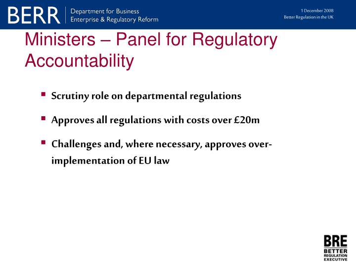 Ministers – Panel for Regulatory Accountability