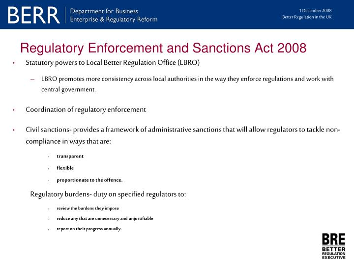 Regulatory Enforcement and Sanctions Act 2008