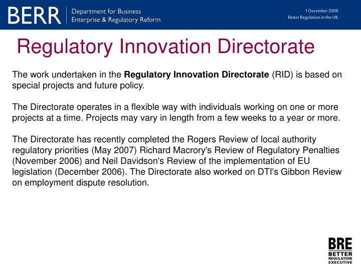 Regulatory Innovation Directorate
