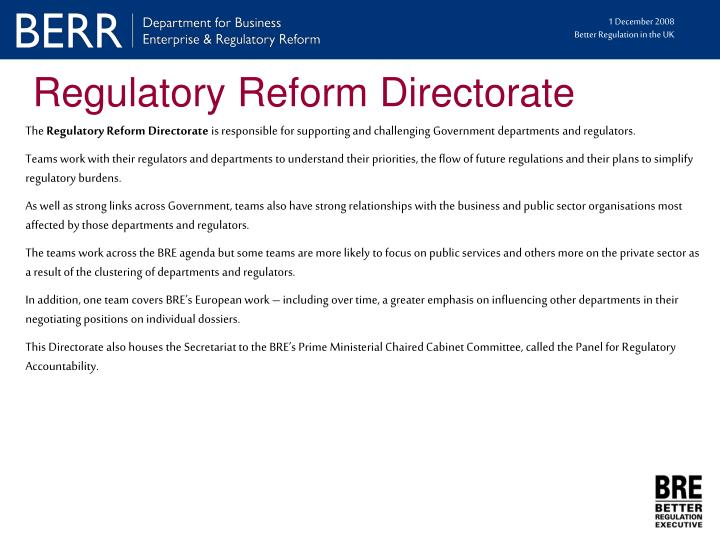 Regulatory Reform Directorate