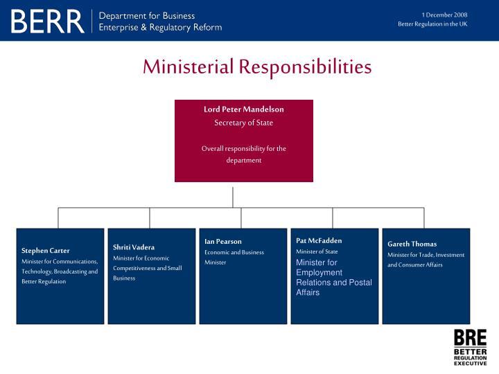 Ministerial Responsibilities
