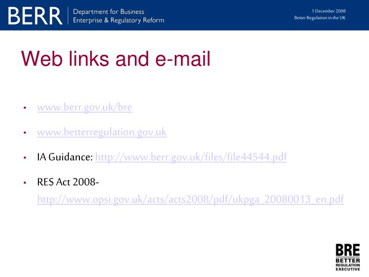Web links and e-mail