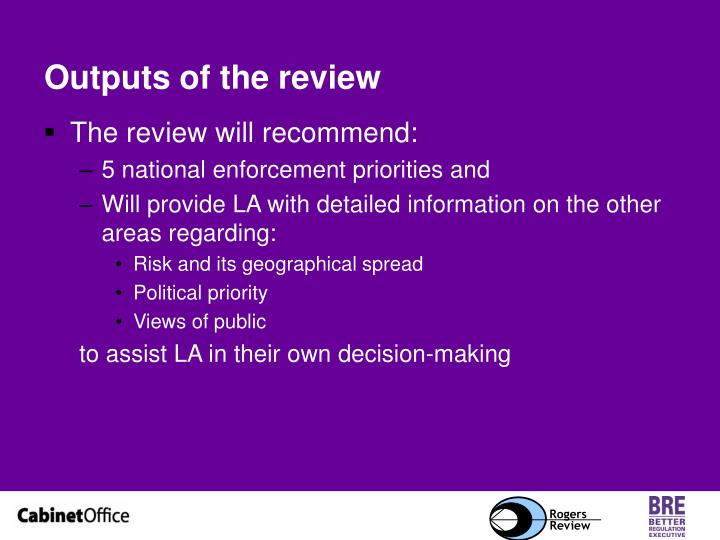 Outputs of the review