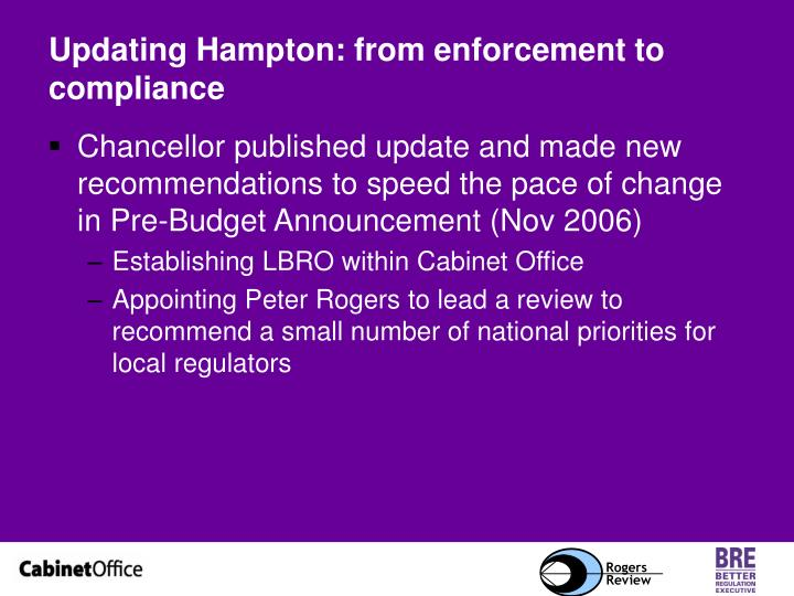 Updating Hampton: from enforcement to compliance