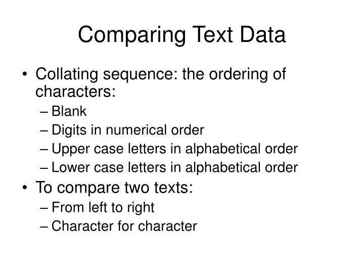 Comparing Text Data