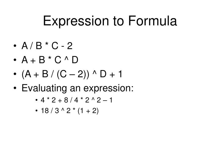 Expression to Formula