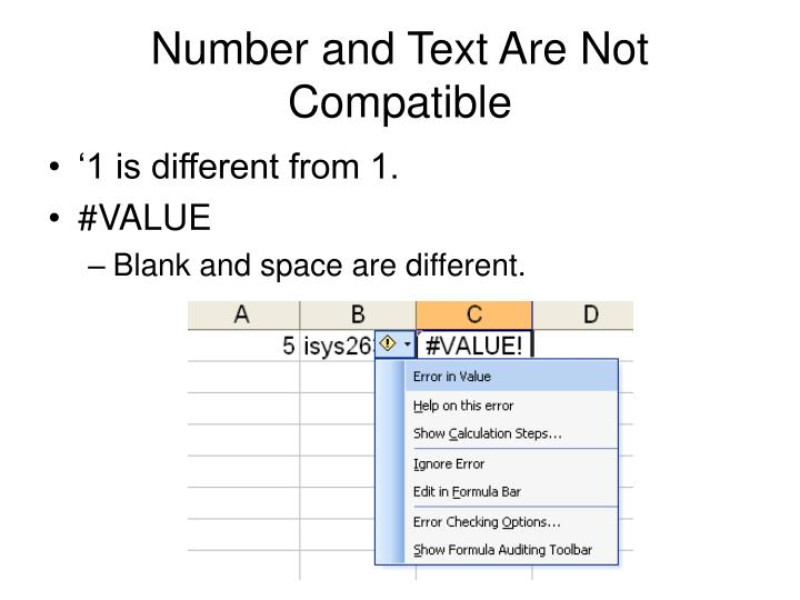 Number and Text Are Not Compatible