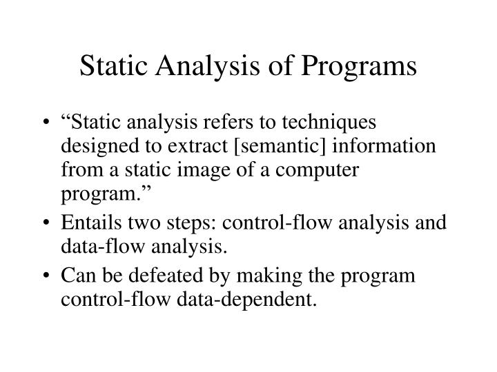 Static analysis of programs