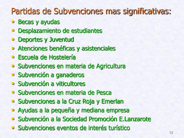 Partidas de Subvenciones mas significativas: