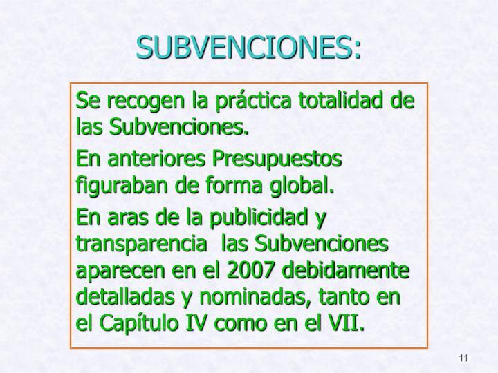 SUBVENCIONES: