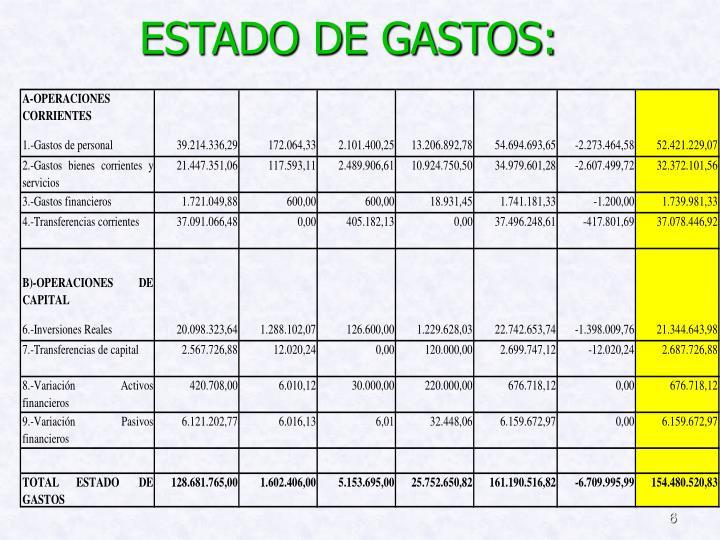 ESTADO DE GASTOS: