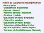 partidas de subvenciones mas significativas