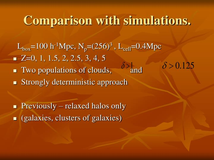 Comparison with simulations.