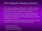 f81 0 specific reading disorder