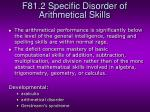 f81 2 specific disorder of arithmetical skills