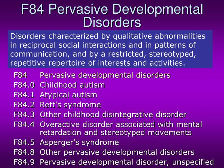 F84 Pervasive Developmental Disorders