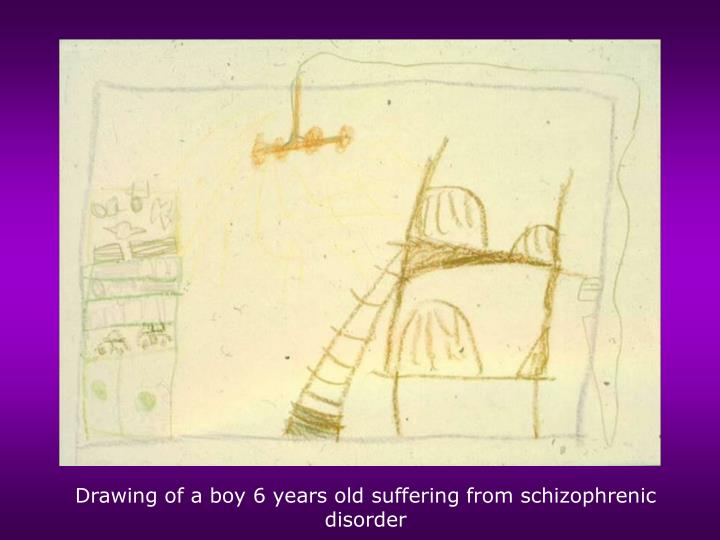 Drawing of a boy 6 years old suffering from schizophrenic disorder