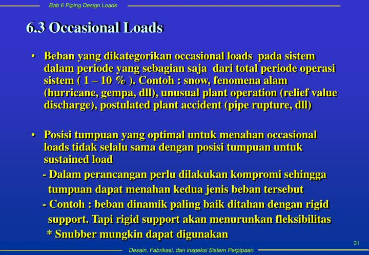 6.3 Occasional Loads