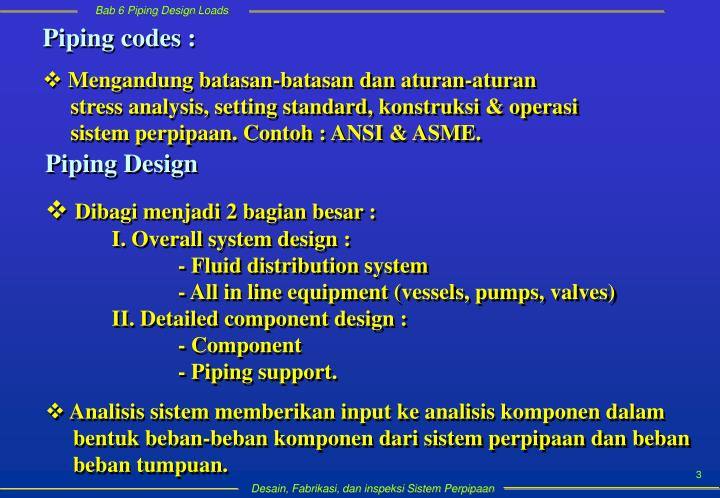 Piping codes :