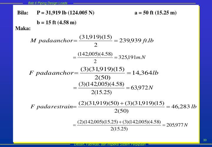 Bila: P = 31,919 lb (124.005 N)a = 50 ft (15.25 m)