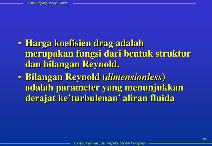 Harga koefisien drag adalah merupakan fungsi dari bentuk struktur dan bilangan Reynold.