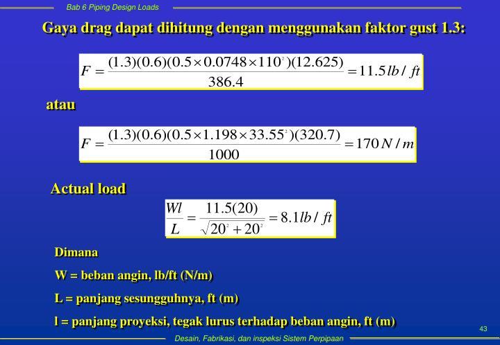 Gaya drag dapat dihitung dengan menggunakan faktor gust 1.3: