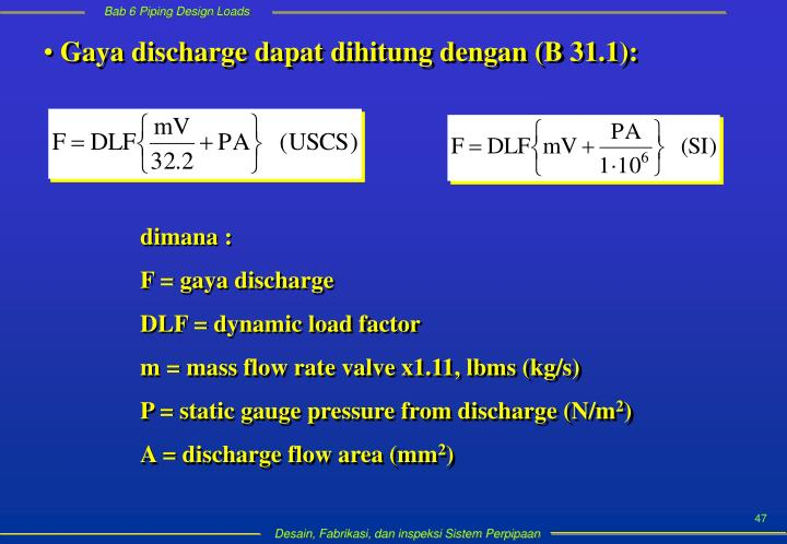 Gaya discharge dapat dihitung dengan (B 31.1):