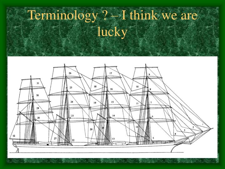 Terminology ? – I think we are lucky
